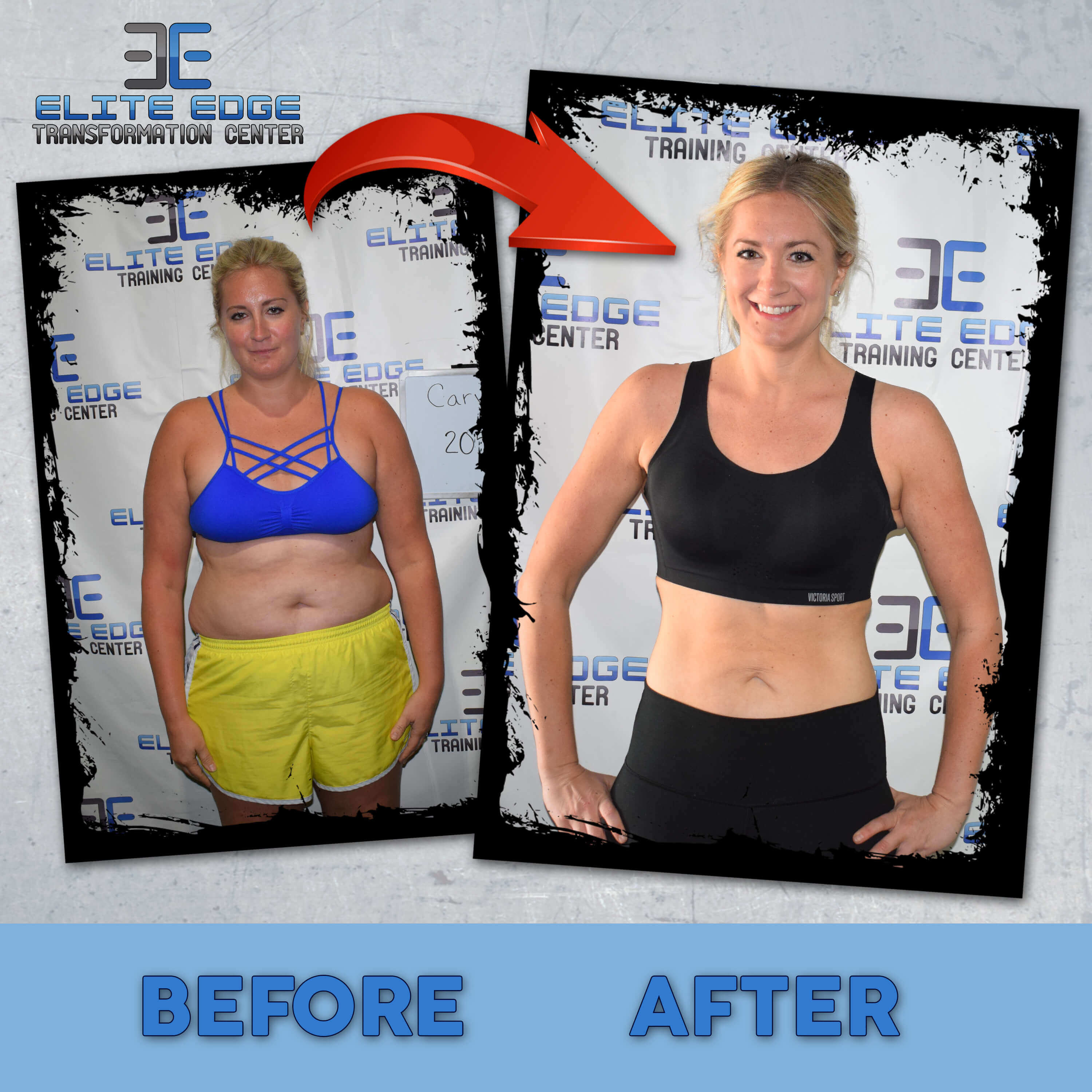 A photo of a woman before and after completing the 6 Week Challenge.