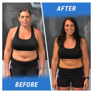 A photo of a woman before and after completing the 1 Week Challenge.