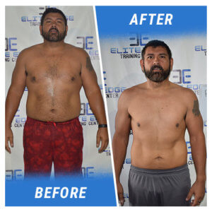 A photo of a man before and after completing the 11 Week Challenge.