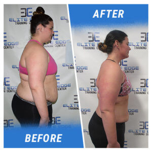 A side profile photo of a woman before and after completing the 14 Week Challenge.