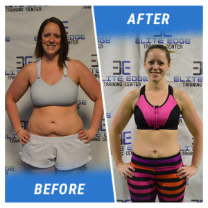 A photo of a woman before and after completing the 15 Week Challenge.