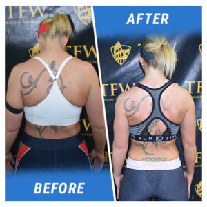 A photo of a woman before and after completing the 16 Week Challenge.