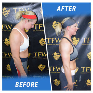 A side profile photo of a woman before and after completing the 6 Week Challenge.