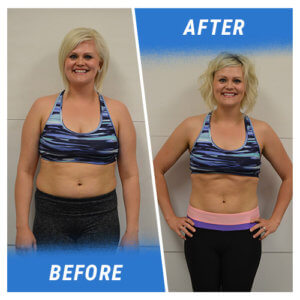 A photo of a woman before and after completing the 2 Week Challenge.