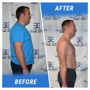 A side profile photo of a man before and after completing the 3 Week Challenge.