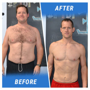 A photo of a man before and after completing the 4 Week Challenge.