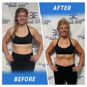 A photo of a woman before and after completing the 5 Week Challenge.