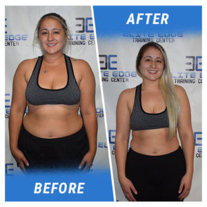 A photo of a woman before and after completing the 7 Week Challenge.