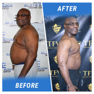 A side profile photo of a man before and after completing the 9 Week Challenge.
