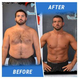 A photo of a man before and after completing an Elite Edge program.