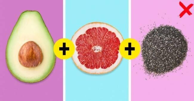 avocado, grapefruit, and chia seeds