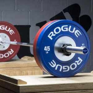 Photo of 45 lb rogue barbell for weight training