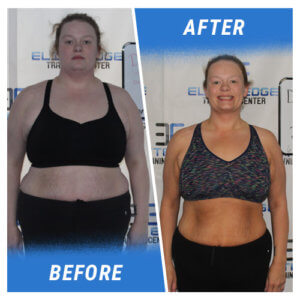A photo of a woman before and after completing the Elite Edge program.