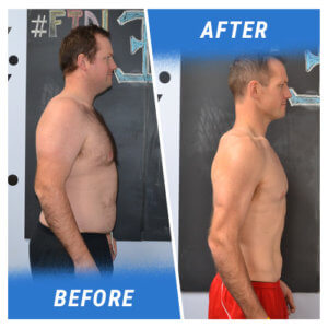 A photo of a man before and after completing the Elite Edge 6 Week Challenge.