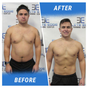 A photo of a man before and after completing the 6 Week Challenge.
