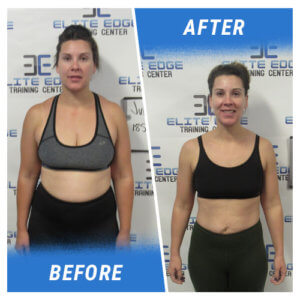 Photo of a woman before and after completing the 6 Week Challenge