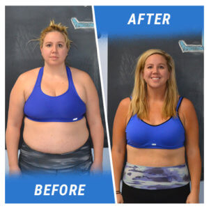 A photo of a woman before and after completing the 6 Week Challenge at Elite Edge.