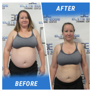A photo of a woman before and after completing the Elite Edge Challenge.