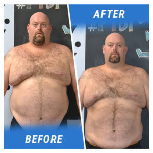 A photo of a man facing the camera before and after completing the Elite Edge 6 Week Challenge.