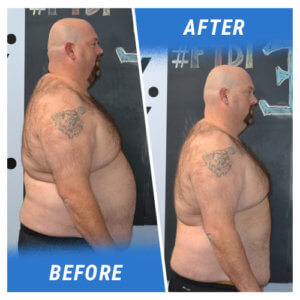 A side profile of a man before and after completing the 6 Week Challenge.