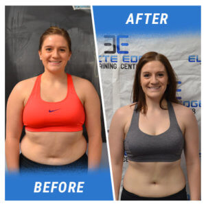 A photo of a woman before and after completing an Elite Edge program.