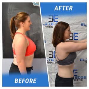 A side profile of a woman before and after completing the 6 Week Challenge.