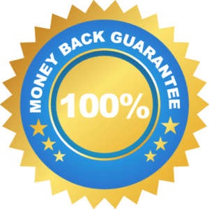 A seal that says, Money Back Guarantee 100%